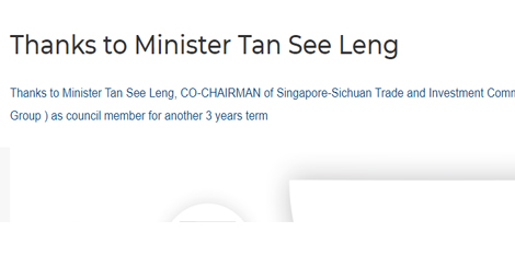 Thanks to Minister Tan See Leng